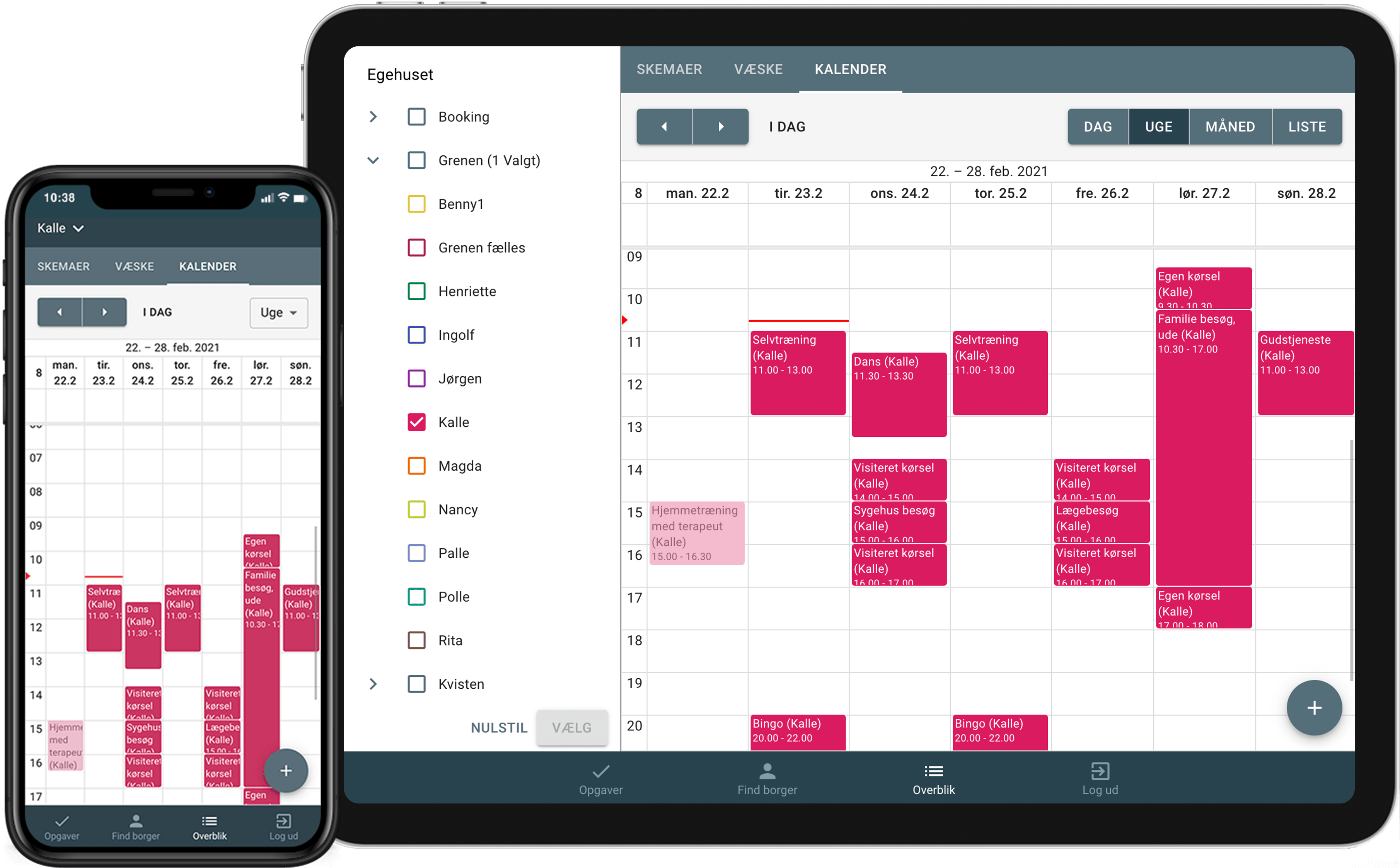 Kalender overblik i Sekoia på mobil og tablet