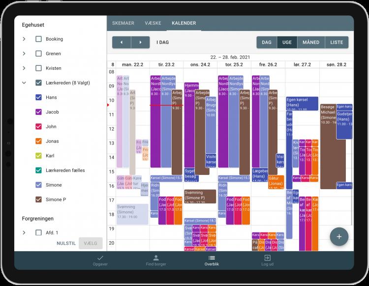 Kalenderoverblik på tablet