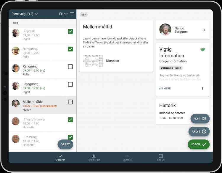 Billede af en tablet der viser et overblik over opgaver