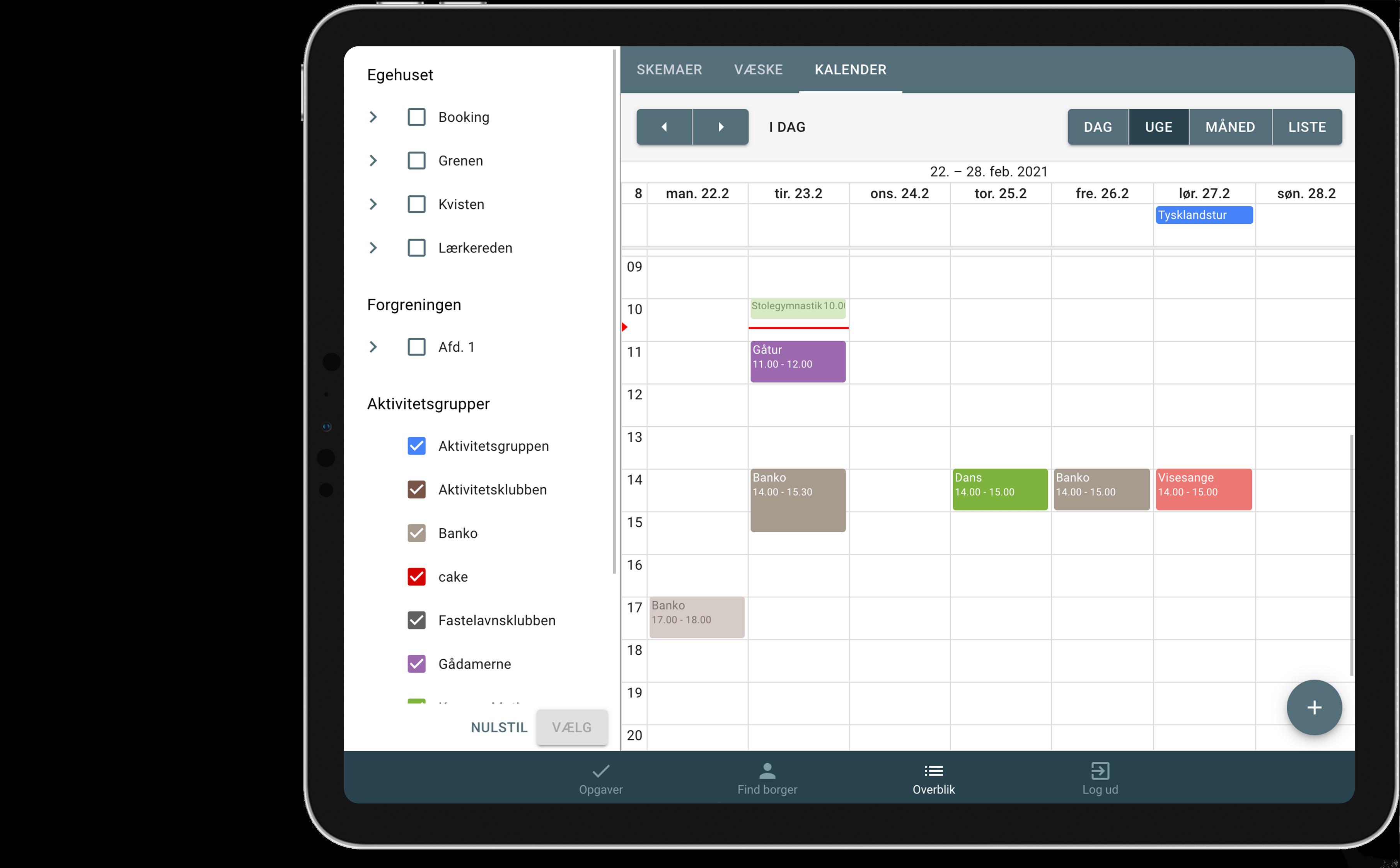Aktivitetsgrupper i kalender